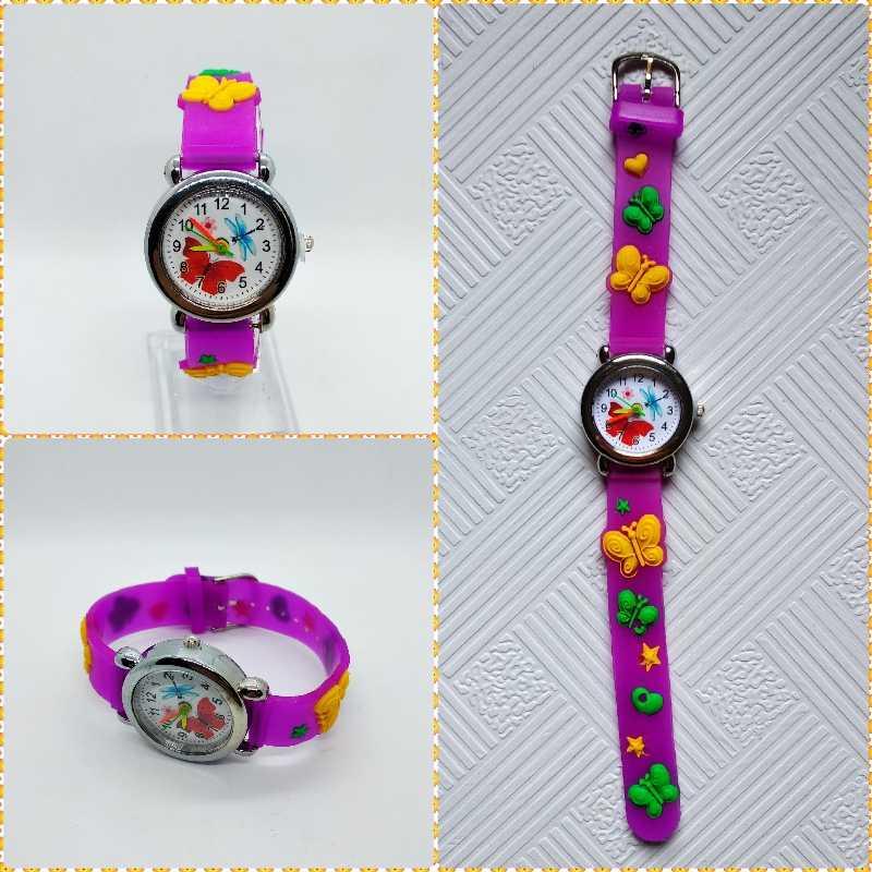 קטן בנות יופי פרפר חיוג קוורץ ילדים לצפות באיכות טובה ילדים מקרית סיליקון שמלת שעון ילד צמיד מתנת שעון