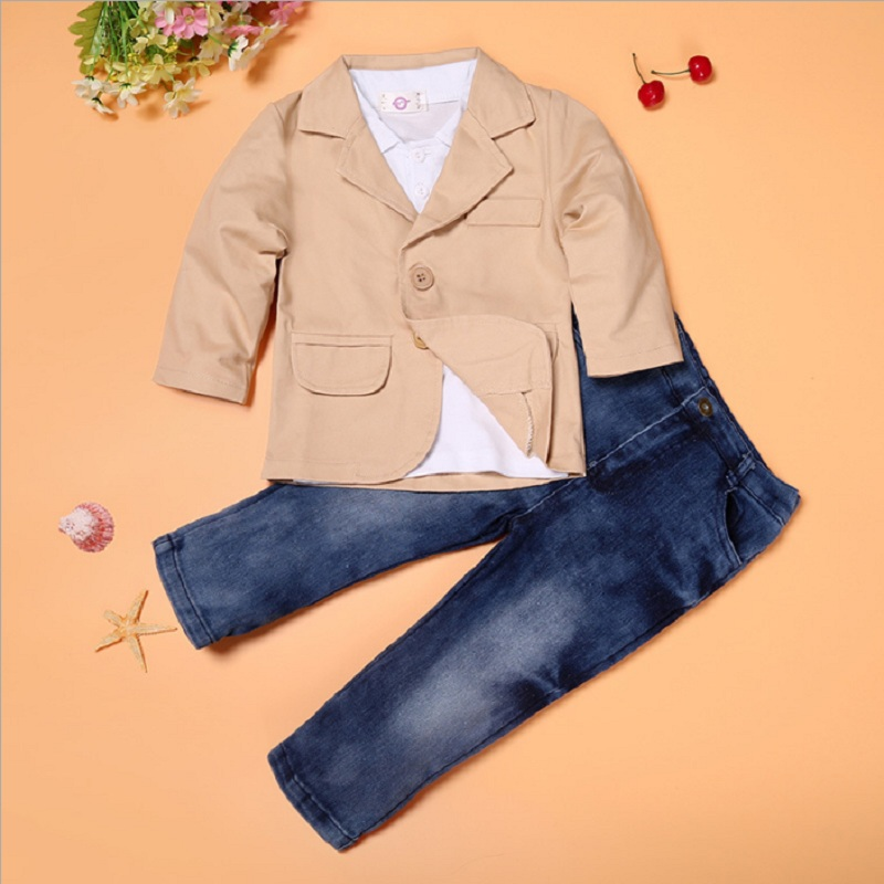 цены на Handsome Boys Clothes Sets Children Jacket + T-Shirt + Jean Pant Suit Baby Boy Outfits Kids Clothing Fashion 3-Pieces Set 3pcs