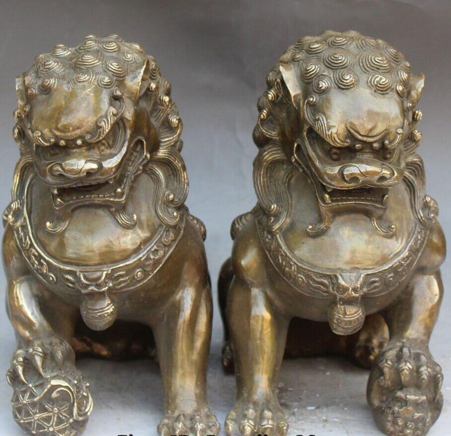 wan67104049+++10 Chinese Fengshui Bronze Foo Fu Dog Door Gate Guardion Lion Leo Pair Statue