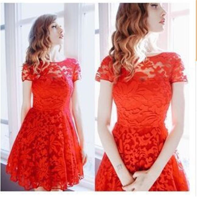2017 New Dress Fashion Women Elegant Sweet Hallow Out Lace Dress Sexy Party Princess Slim Summer Dresses Vestidos Red Blue