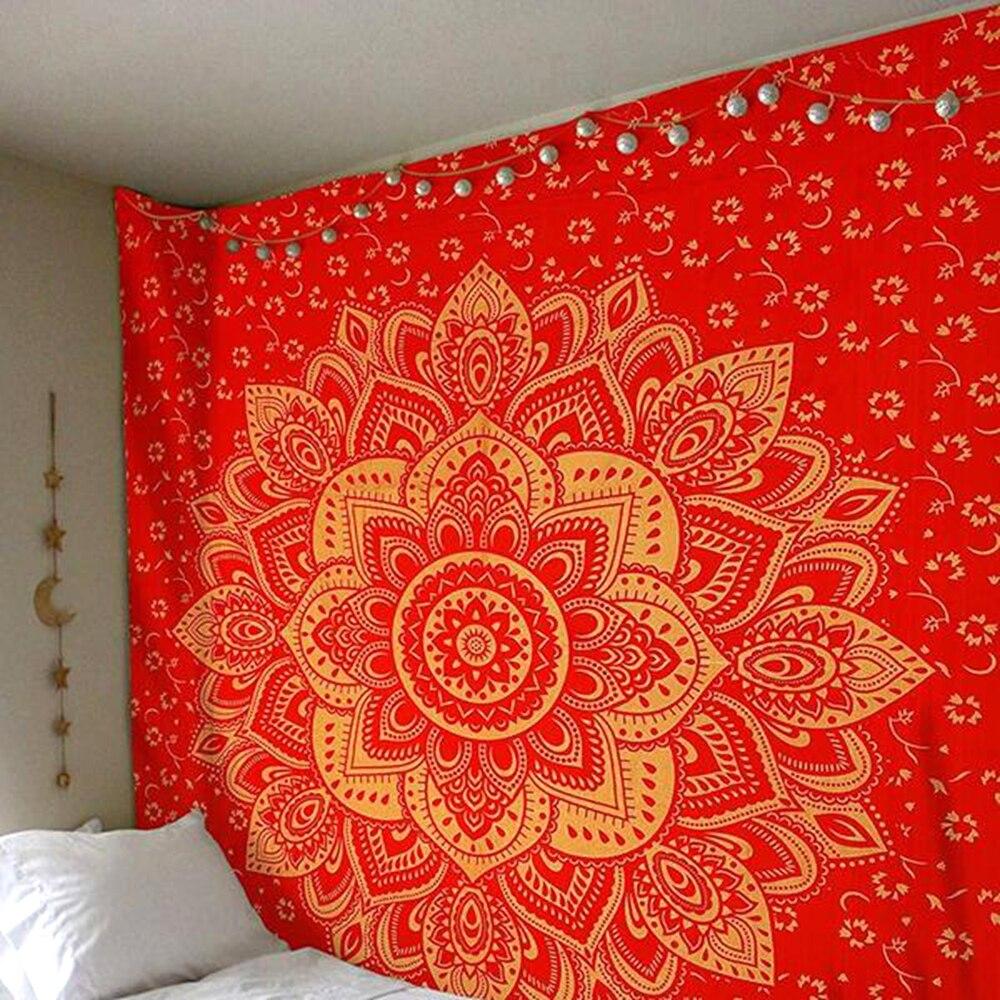 Yaye индийский Стиль цветы лотоса Мандала шаблон Гобелены стене висит шаль чешского Постельные покрывала скатерть 1 шт.