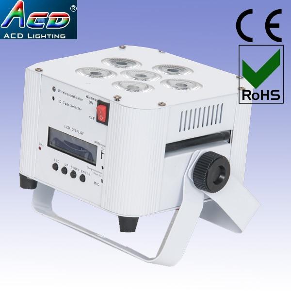 grossist 6 * 6in1 RGBWAUV fjärrkontroll batteridriven trådlös dmx led scen platt par ljus 8st
