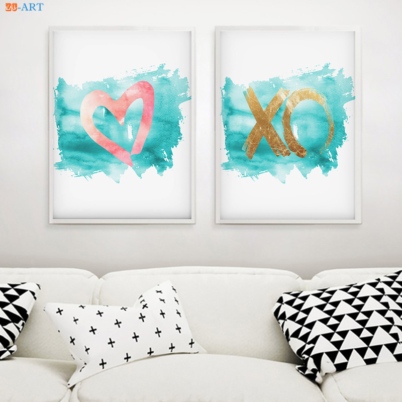 US $3.5 41% OFF|Heart XO Print Turquoise and Coral Wall Decor Nursery Wall  Art Pink Girls Bedroom Decor Canvas Poster Print Painting Pictures-in ...
