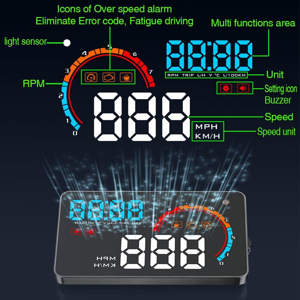 GEYIREN D2000 voiture informations multiples HUD affichage tête haute OBD2 vitesse tr/min consommation de carburant tableau de bord pare-brise projecteur