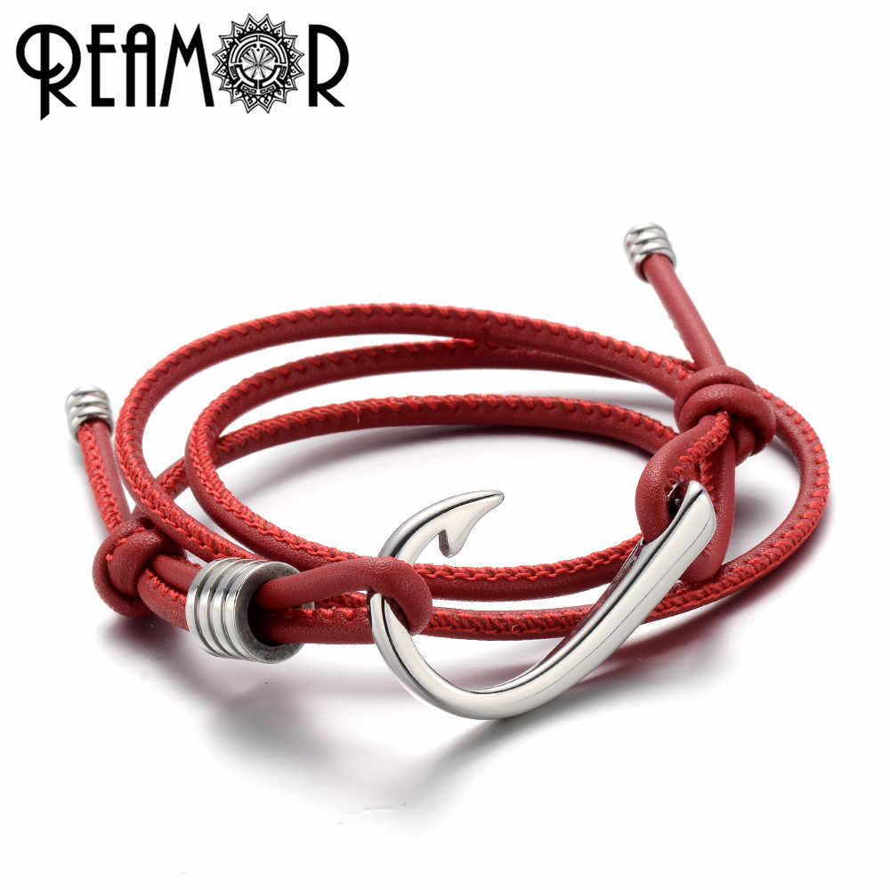REAMOR 316L Stainless Steel Fishing Hook Male Charms Bangles Adjustable Multiple Layers 2 mm Leather Rope Trendy Women Bracelet