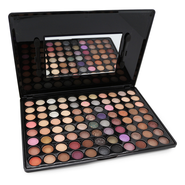 Hot maquillaje profesional de 88 colores de alto brillo paleta de sombra de ojos shimmer women baked sombra de ojos maquillaje conjunto con el cepillo cosmético