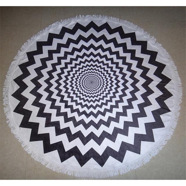 Black And White Geometric Round Beach Towel Creative Soft Comfortable High Grade Bath