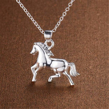 Pure Silver 925 Necklaces for Women Horse Pendant Necklace Chain Choker Collier Fashion Jewelry Accessories Bijoux Gifts dream catche necklaces for women fashion jewelry dreamcatcher leaves pendant necklace choker collier bijoux vintage jewelry