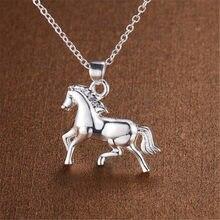 Colares de prata 925 para mulheres, colar de pingente de cavalo, gargantilha, acessórios de joias, presentes de bijuterias