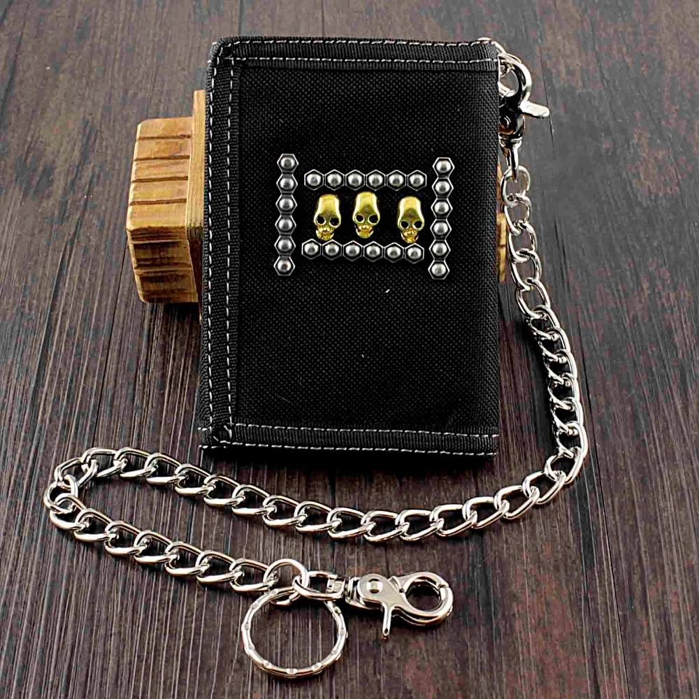 SKull Cavans Trifold Slim Wallet Money Purse with safe Chain For Men or Boy