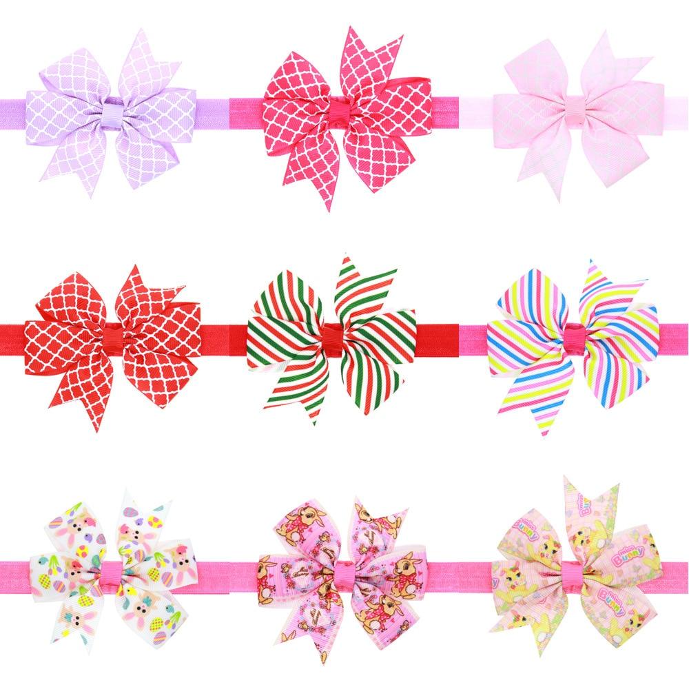 1 Piece MAYA STEPAN New Children Girls Handmade Print Bow Tie Hair Head Band Baby Newborn Hair Rope Headband Headwear Headwrap