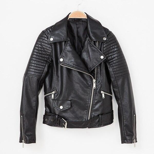 Vente Ceinture Longues Faux Cuir Mode 2016 Col Manches Femmes Zipper Revers Moto Hot Yidora Printemps Noir Veste Court qxpwSZ7IFS