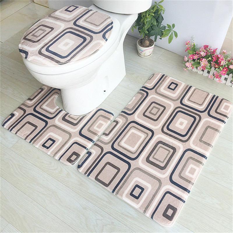 3 Pieces/Set Absorbent Bathroom Floor Mat Anti Slip Bathroom Mat WC Mat U Shape Non-Slip Bathroom Carpet Rugs tapete banheiro