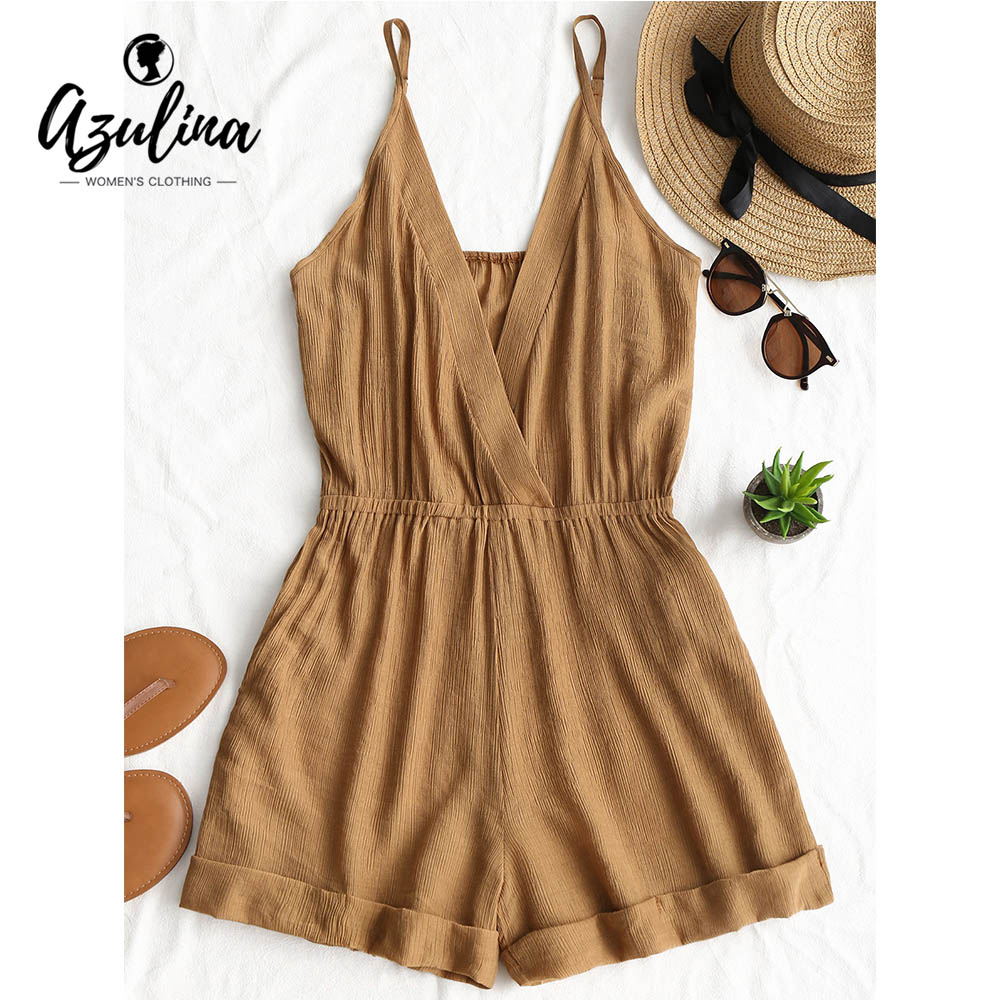 AZULINA Cross Front Rolled Up Hem Romper Women Rompers Solid Jumpsuit Summer Short Overalls Jumpsuit Female Girl Cotton Playsuit