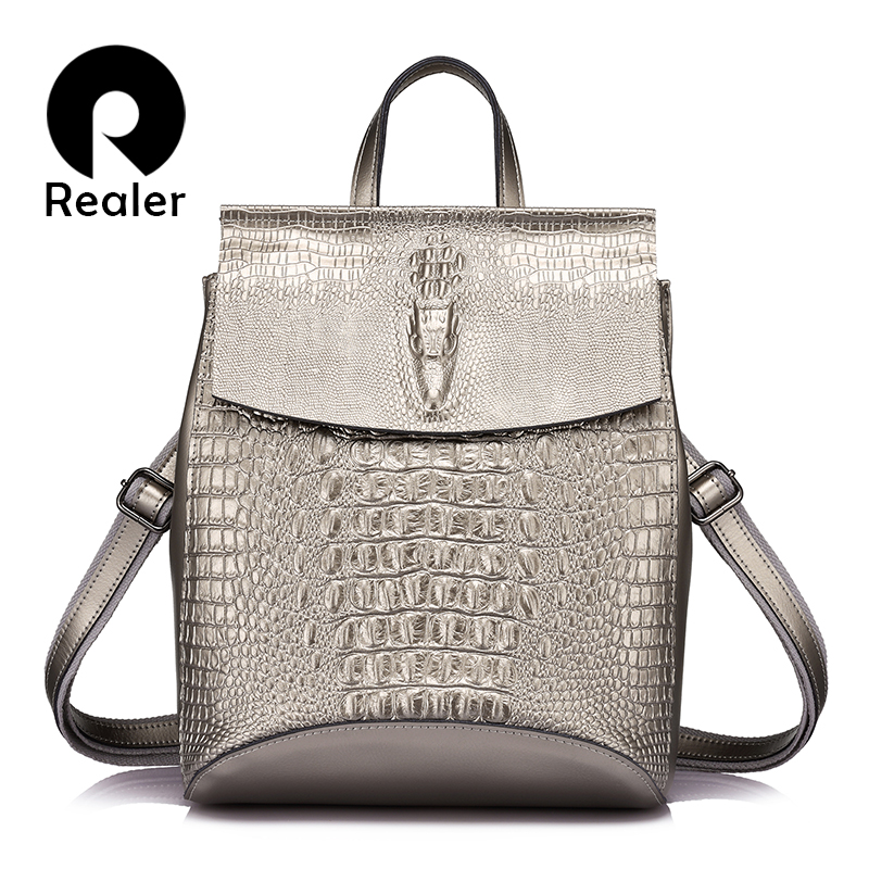 REALER women backpack high quality split leather female crocodile prints large multifunctional bag mochila school shoulder