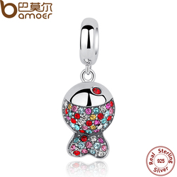 BAMOER New Collection 925 Sterling Silver Lovely Colorful Zircon Fish Pendants fit  Bracelet & Necklace SCC034