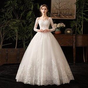 Image 1 - 2021 새로운 우아한 O 목 풀 슬리브 웨딩 드레스 환상 레이스 자 수 간단한 사용자 정의 만든 된 신부 가운 Vestido De Noiva L