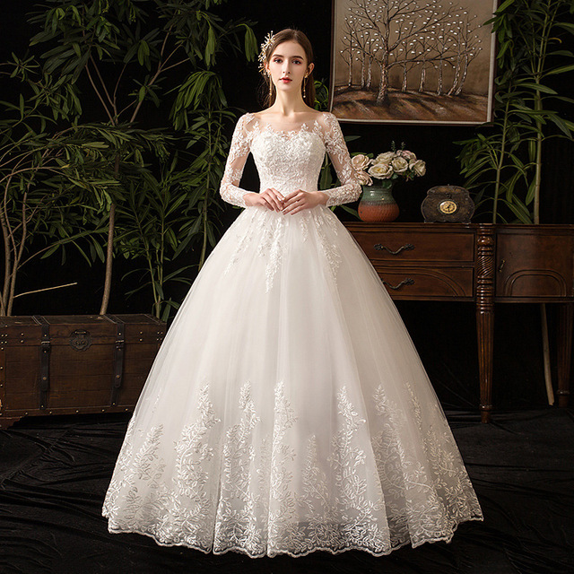 2021 새로운 우아한 O 목 풀 슬리브 웨딩 드레스 환상 레이스 자 수 간단한 사용자 정의 만든 된 신부 가운 Vestido De Noiva L