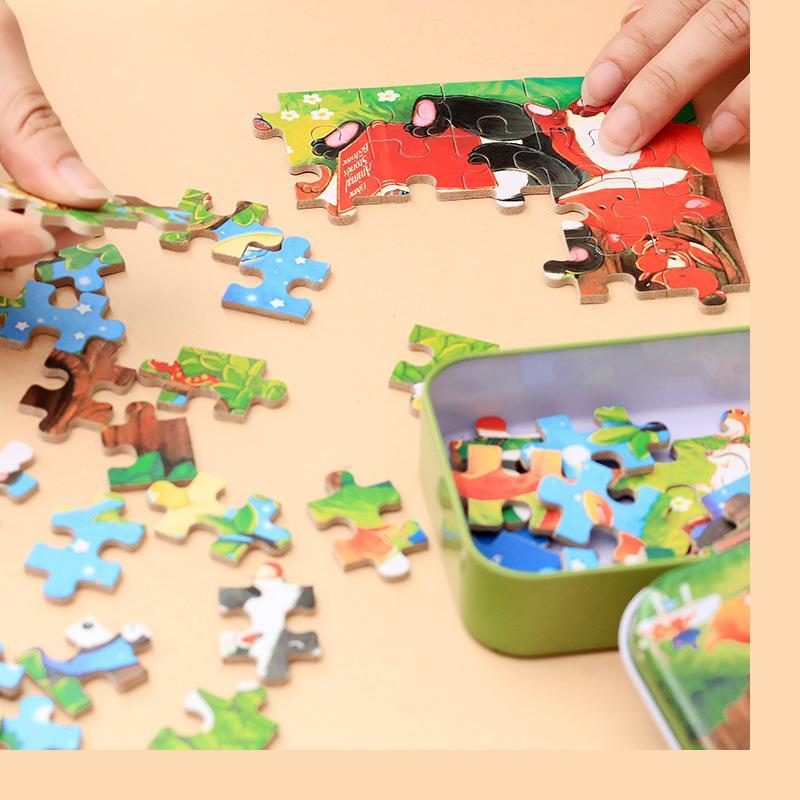60 шт. мультфильм деревянные головоломки 6 железный ящик головоломки для малышей и детей 3 лет выше развивающие игрушки Бесплатная доставка о...