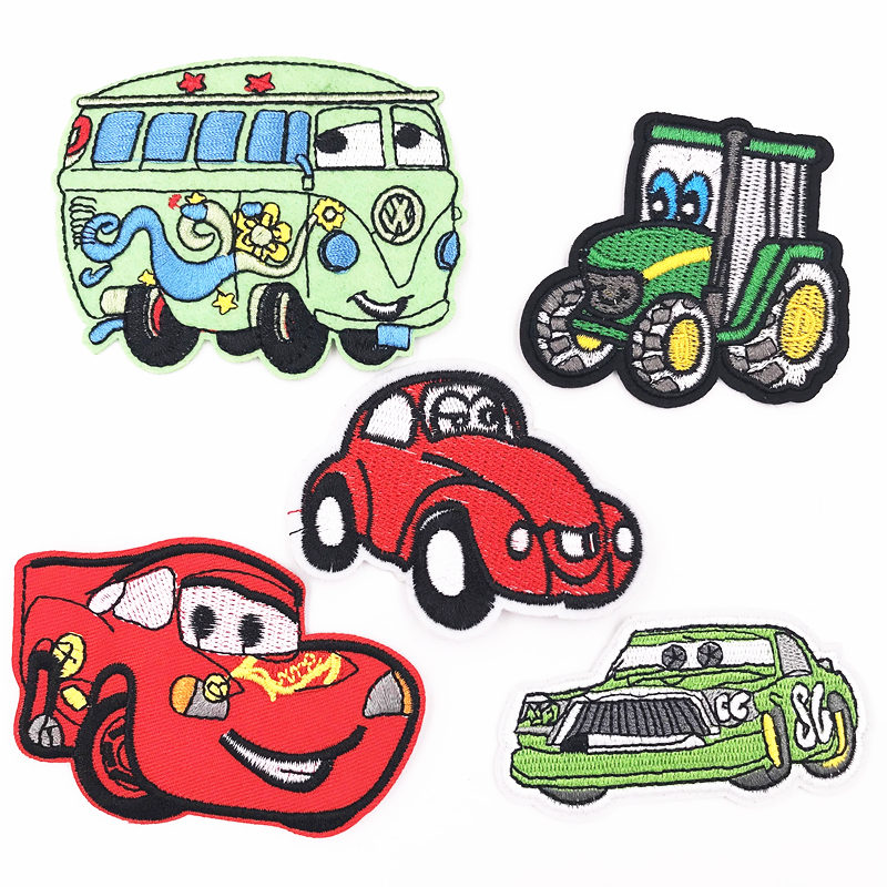 5pcs Cartoon Cars Fabric Embroidered Iron//Sew On Patch Appliqué Embroidery Kids
