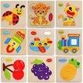 Materiais De Montessori De Madeira Jigsaw Puzzles Brinquedos Modelo Enigma de Madeira Animal Dos Desenhos Animados do Transporte De Frutas Presentes Melhor Brinquedo Para Crianças