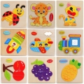 Montessori Materials Wooden Jigsaw Puzzles Toys  Cartoon Animal Fruit Transportation Wood Model Puzzle Best Toy Gifts For Kids
