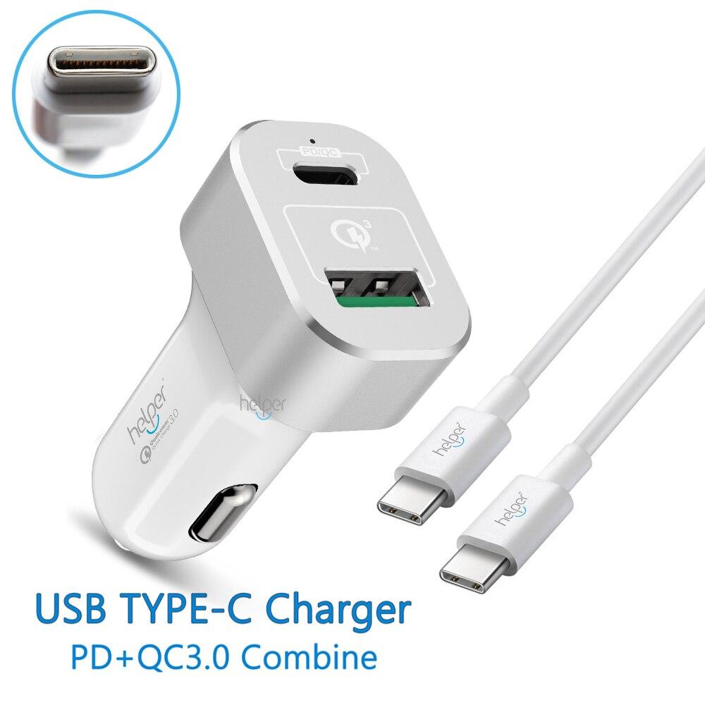 PD Caricabatteria Da Auto Dual USB QC 3.0 Consegna Veloce Caricabatteria Da Auto con Potenza e Carica Rapida per Macbook e più