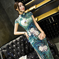 Elegant Women Long Vestidos Cheongsam Water Lily Print Slim Qipao Chinese Traditional Dress Summer Autumn Garments S M L XL XXL