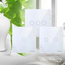 EU/UK Standard SESOO Touch Wall Light Switch,1 Gang/2 Gang/3 Gang 1 Way,Crystal Glass Fireproof Panel,Single Fire Touch Switch