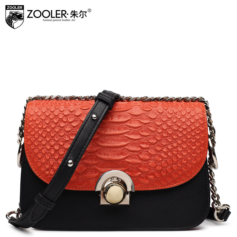 ZOOLER Women Genuine Leather Small Bag Ladies Fashion Leisure Real Cowhide Leather Crocodile Pattern Chain Mini Shoulder Bags zooler women genuine leather shoulder bags fashion leisure cowhide all match small messenger bag ladies casual bolsa feminina