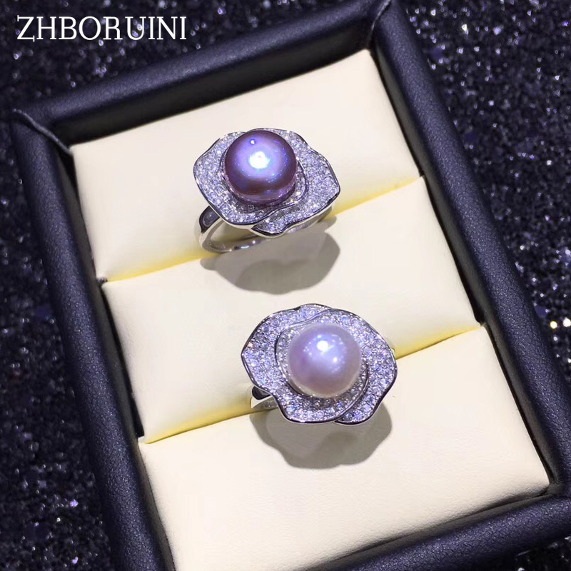 ZHBORUINI 2019 Pearl Ring 925 Sterling Silver Ring Jewelry Flower Ring Natural Freshwater Pearl Rings For Women Drop ShippingZHBORUINI 2019 Pearl Ring 925 Sterling Silver Ring Jewelry Flower Ring Natural Freshwater Pearl Rings For Women Drop Shipping