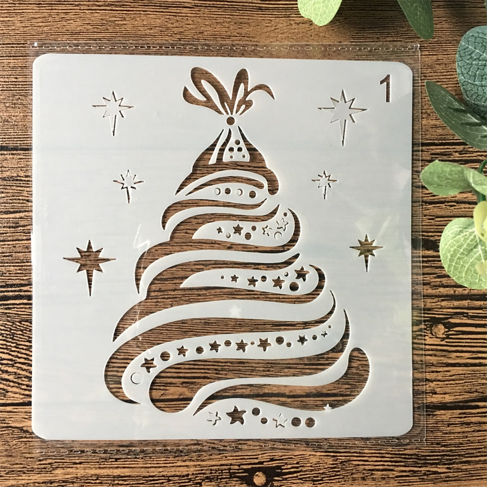13cm Christmas Pine Tree DIY Layering Stencils Wall Painting Scrapbook Coloring Embossing Album Decorative Paper Card Template