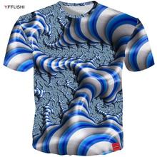 YFFUSHI 2018 Vīriešu / sieviešu 3D redzes krekls Fashion Summer Unique Line T krekls Top Streatwear Vīrieši Hip Hop Short Sleeve Tees