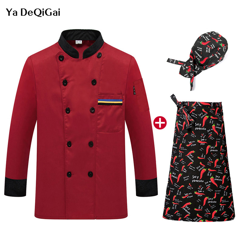 New Restaurant Uniform Coat Food Service Hotel Kitchen Long Sleeve Work Clothes Breathable Thin Red Chef Jackets M-4XL Chef Hat