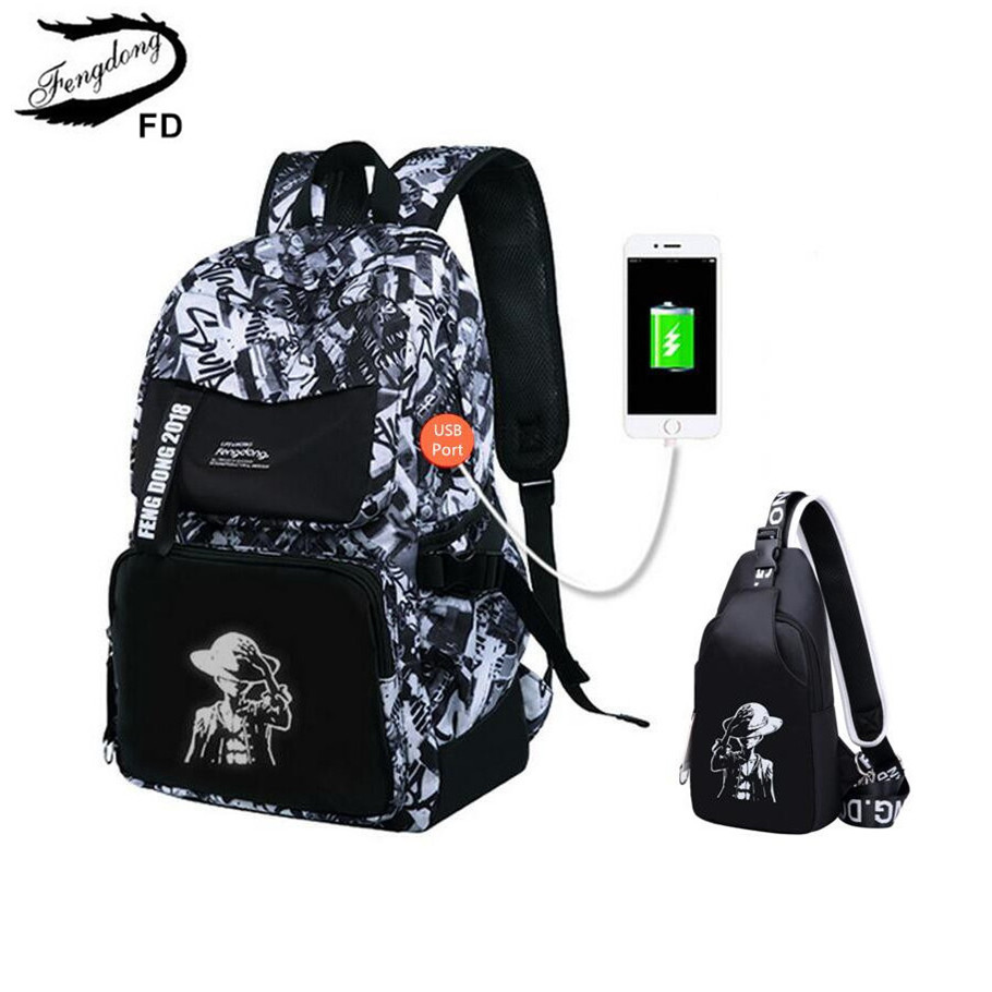 FengDong 2pcs male usb backpack laptop bag boys school bags black chest bag men travel bags notebook computer backpack for boy ozuko multi functional men backpack waterproof usb charge computer backpacks 15inch laptop bag creative student school bags 2018