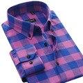 Outono Novo 100% Algodão Homens Camisas Xadrez Casuais Colarinho Quadrado Botão-Up Suave Flanela Camisa Dos Homens Vestido de Negócios