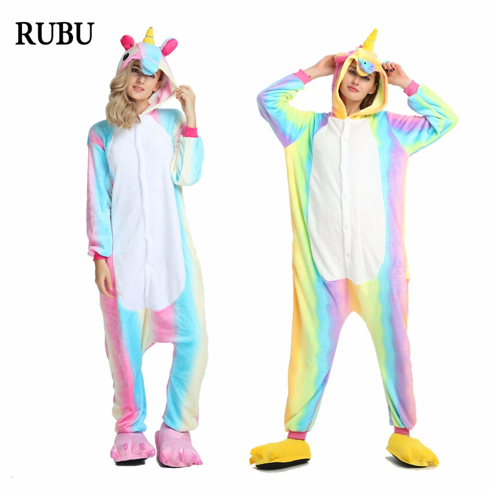 Onesie Winter Adult Unisex Pajamas Cartoon Animal Halloween Cosplay Costume Hooded Sleepwear Unicorn Panda Stitch Kigurumi
