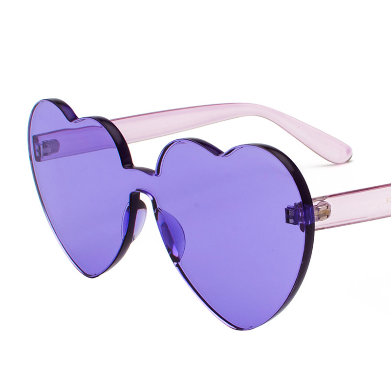 Ladies Colorful Vintage Rimless Sun Glasses For Women Shades New Trendy Love Heart Pink Sunglasses UV400 Heart Shaped Sunglasses
