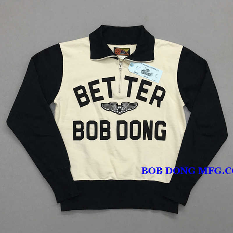 BOB DONG Heavy Striped Moto Biker Sweatshirt Men's Hoodie