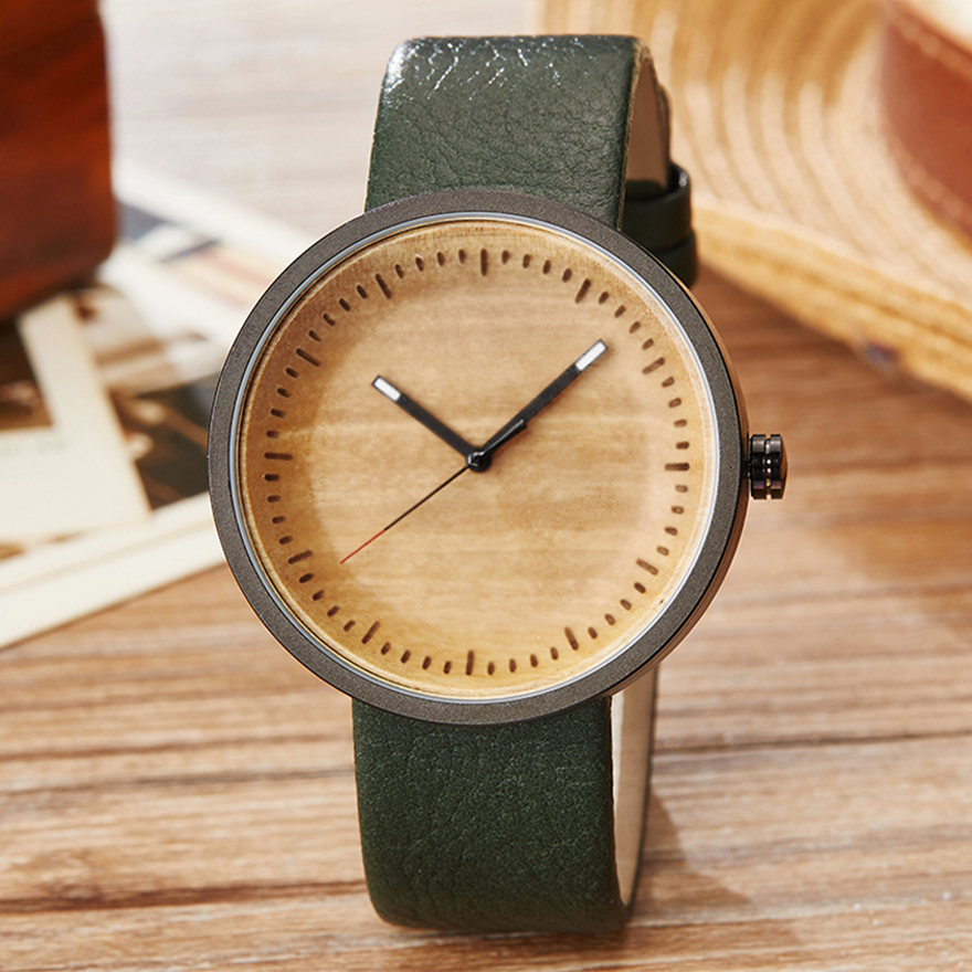 Couple Bamboo Wood Watch Mens Women Wooden Wristwatch Leather Original Lover Gifts Watch Clock Reloj De Madera Relogio Masculino