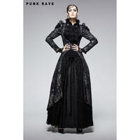 Punk Rave Female Velvet Gothic Steampunk Victorian Fancy Visual Kei Long Jacket Coat XS XXL Y567
