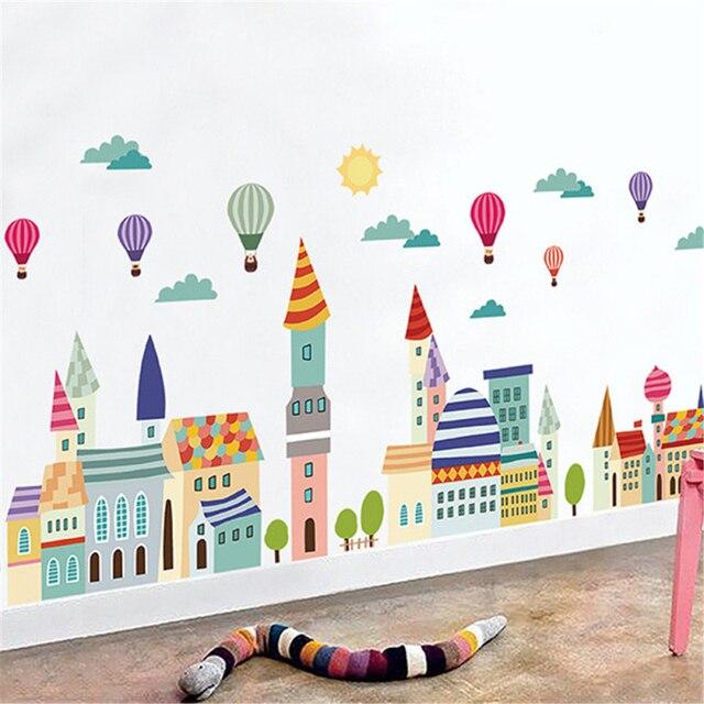 KAKUDER budynku balon na gorące powietrze naklejki ścienne dekoracje do domu dla dzieci samoprzylepne winylu tapety ścienne dla dzieci dziewczyna chłopiec pokoju 60*90 cm