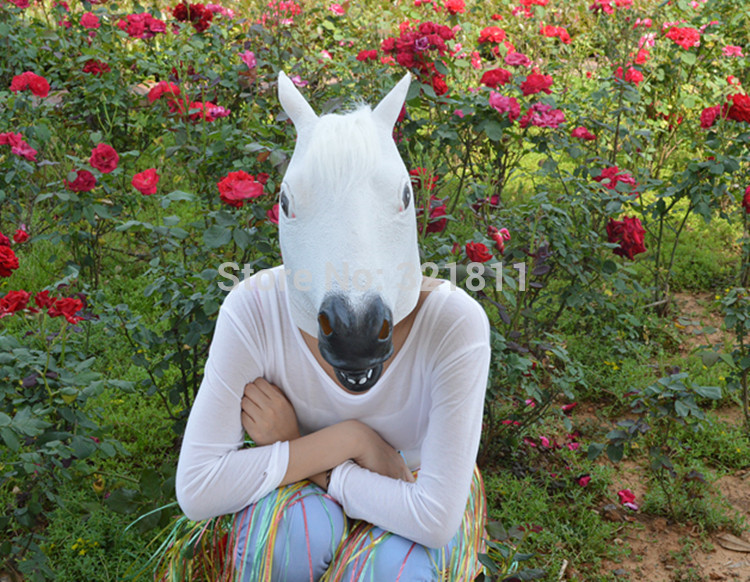 Ec-friendly Latex Creepy Horse Mask Full Head Halloween Animal Masks(white)  -  008 Store store