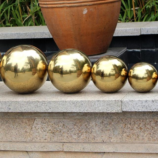 201 Stainless Steel Titanium Gold Hollow Ball Seamless Home&Garden Decoration Mirror Ball Sphere 3