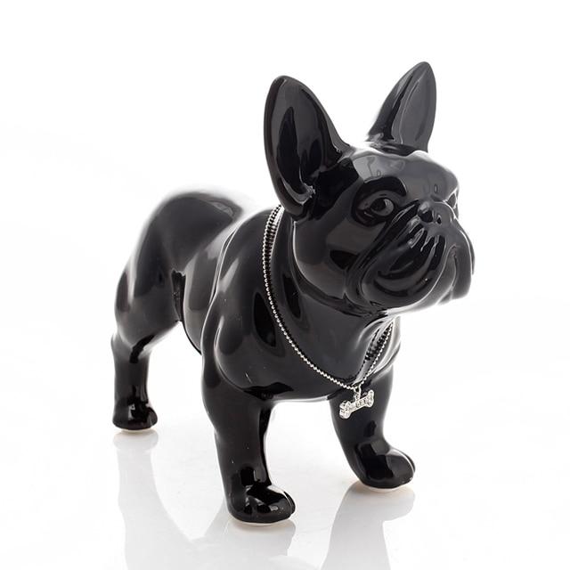 Cute Ceramic French Bulldog Dog Statue Home Decor Crafts Room Decoration Dog Ornament Porcelain Animal Figurines Decorations