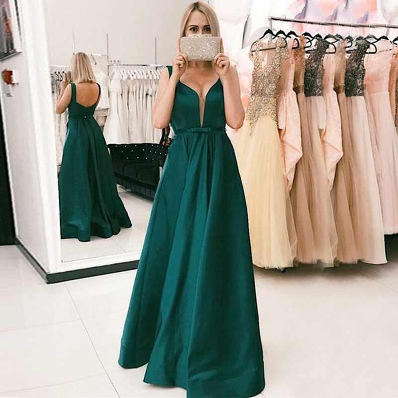 42c043db40b Простое темно-зеленое свадебное платье для гостей 2019 с открытой спиной  Линия длиной до пола