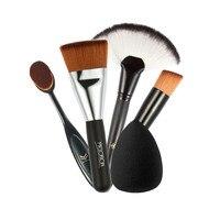 5pcs Makeup Tools Brush Set with Fan-Shaped Blush Brush Foundation Brush Make Up Portable Brushes Puff