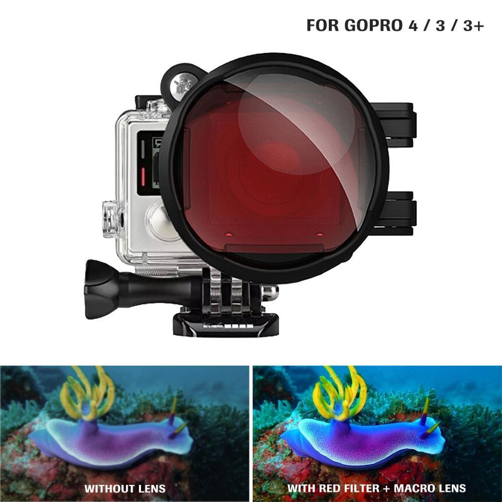 Filtre de Correction de couleur rouge + objectif Macro de gros plan 16X pour Gopro Go Pro Hero 4 3 3 + boîtier de boîtier Kit de filtre de lentille de plongée sous-marine