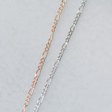 Gold/ Silver/ Rose God Figaro Chains 1.6mm, Real Gold/ Rhodium plated Brass, Tarnish Resistant (#LK-168)/ 1 Meter=3.3 ft(China)