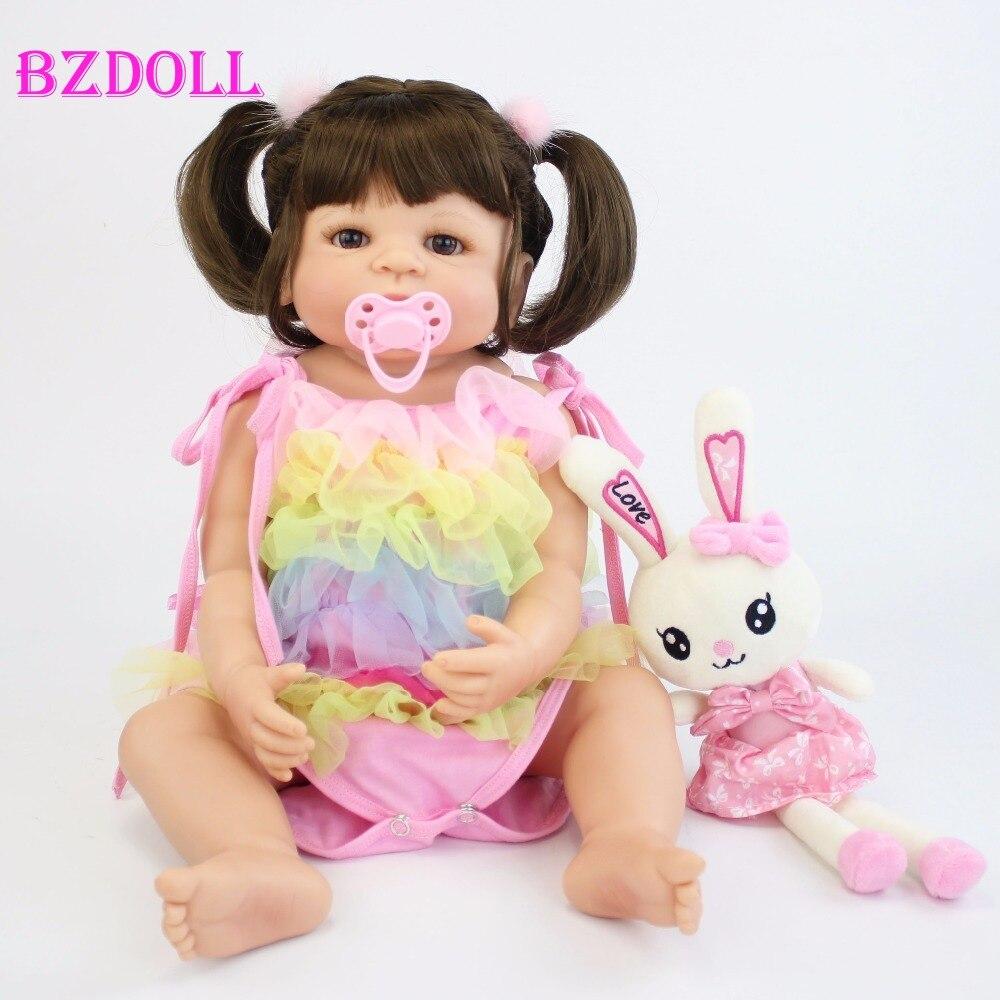 55 cm 전체 실리콘 비닐 바디 태어난 아기 인형 bebe 살아있는 살아있는 목욕 장난감 생일 선물 공주 유아 인형 소녀 boneca-에서인형부터 완구 & 취미 의  그룹 1